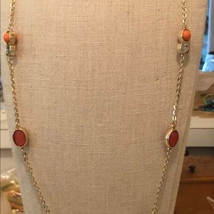 "Loft 16"" costume orange tan gold necklace"